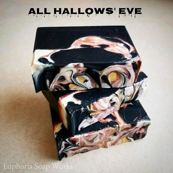 All Hallows' Eve Silk Soap! All Hallows' Eve silk soap is an activated charcoal and clay detoxifying soap perfect for oily skin types. This soap features black activated charcoal and Dead Sea mud which are both fantastic detoxifiers binding with dirt and oil to keep your skin feeling clean and purified. Made with all natural plant based oils and cruelty free tussah silk for a creamy and luxurious lather! #soap #handmade #natural #fall #silksoap #ad #halloween