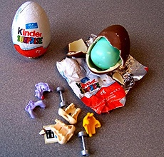 Kinder Eggs Are Illegal....  (We used to buy these in Germany when my husband was posted there. We had 3 small sons and the oldest is now in his late 40's today. All was well in Kinderland. :) LOL They were delicious and fun. Common sense tells us to not give a baby small objects. Sheesh. ~Nancy Dittert)