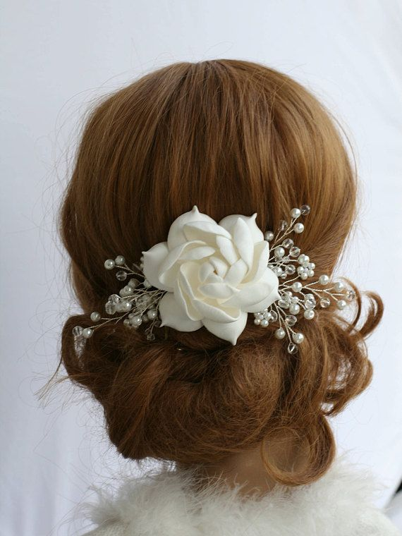 Bridal Flower comb Gardenia Bridal Hair flower Wedding hair