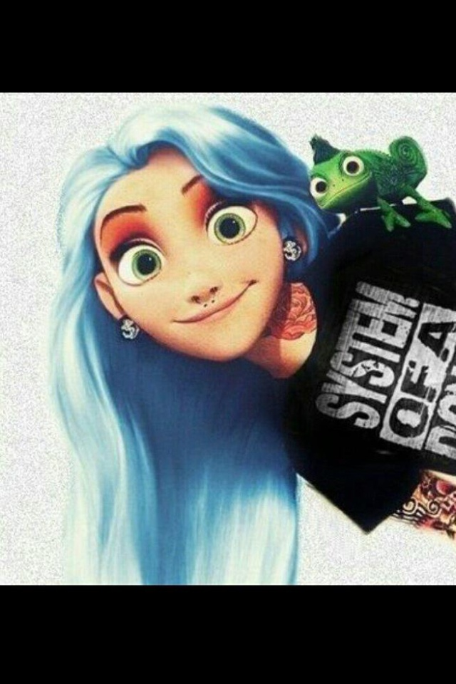 tangled rapunzel blue goth princesses pinterest