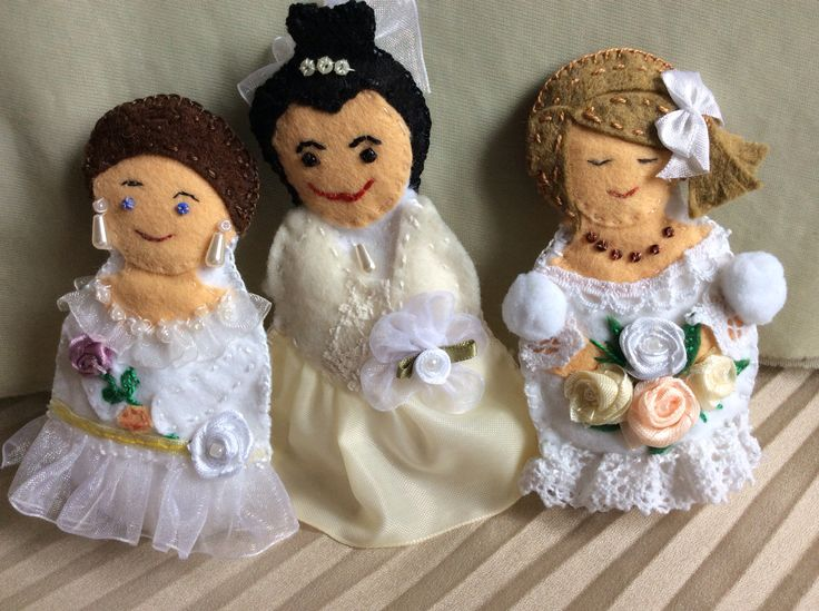 The 3 bride plushies I made as wedding gifts for 3 different brides.