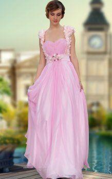 Robe De Gala Fille rez-de-longueur tulle perlé robes de soirée rose