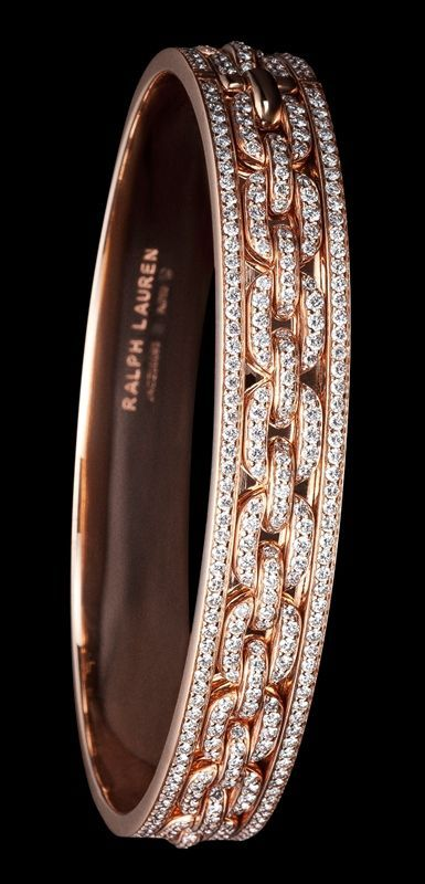 Ralph Lauren 18K rose gold single-chain bangle with diamonds: