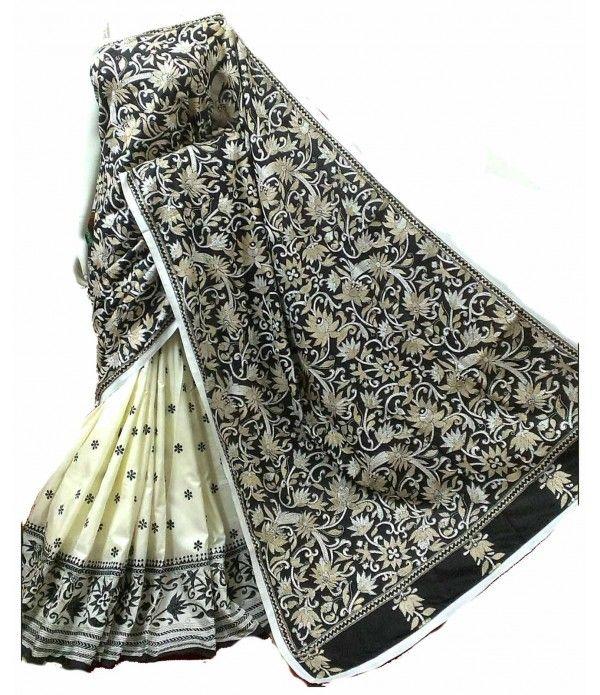 Cream Silk Saree-Nakshi Kantha Work