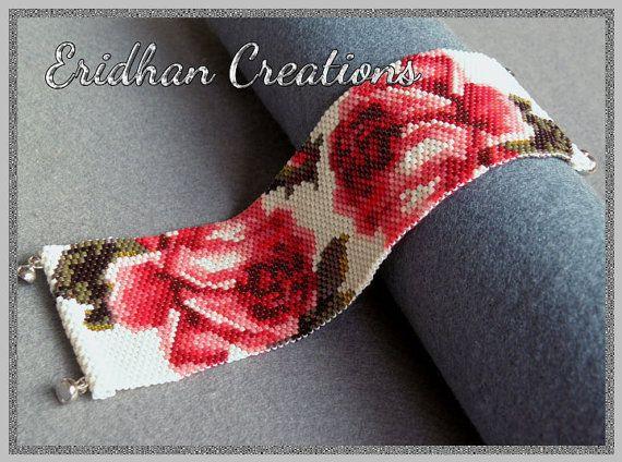 Blooming Roses bracelet  peyote pattern by EridhanCreations, $5.00