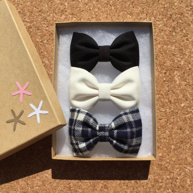 Black, off white, and new blue plaid flannel hair bow set from Seaside Sparrow Bows. Hair bows for teens hair bows for girls gift for her