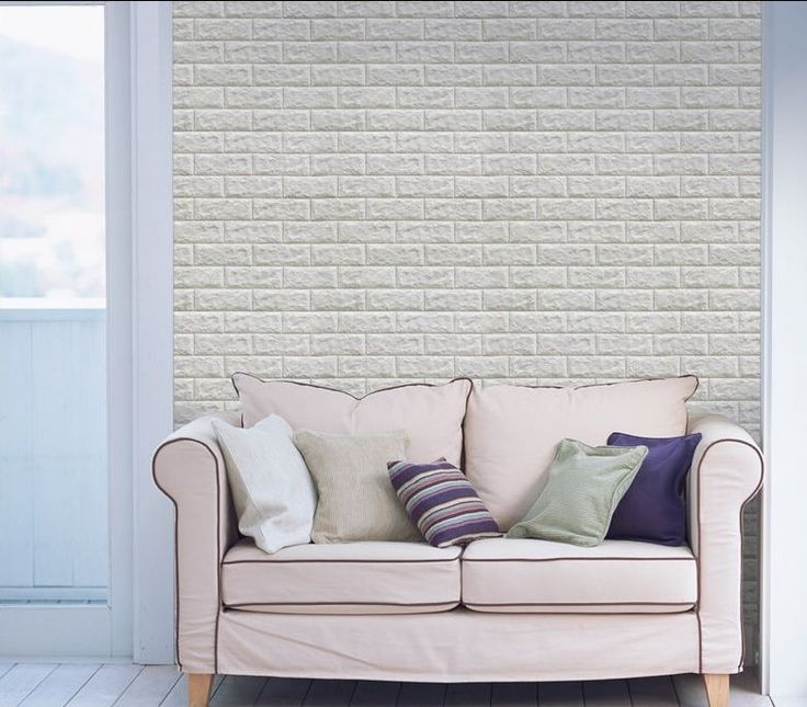 Luxury 3D Brick Wall Textured Foam Wallpaper, 71x78cm Large 5 Sheets Light Gray #INDESIGN