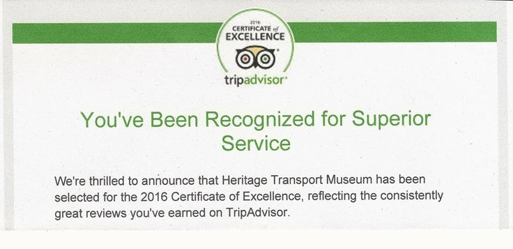 Heritage Transport Museum has just been awarded the 2016 ‪#‎CertificateofExcellence‬ from @tripadvisorus. This is our 2nd in a row! For a #museum that's 2 years old, it's an achievement of sorts!!