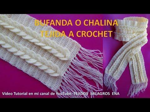 Bufanda o chalina tejida a crochet paso a paso , YouTube