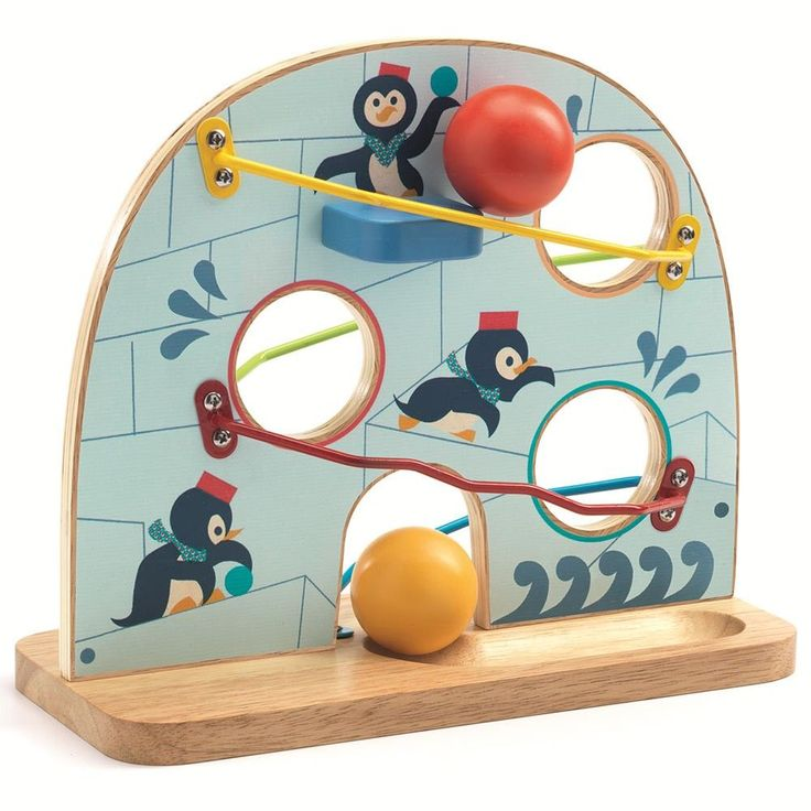 Toboggan à boules pingouins - DJECO - Jouet en Bois pour Enfant