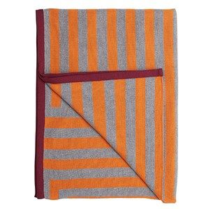 Meta orange/grå/blomme plaid / knitted blanket / 100% wool / made in denmark