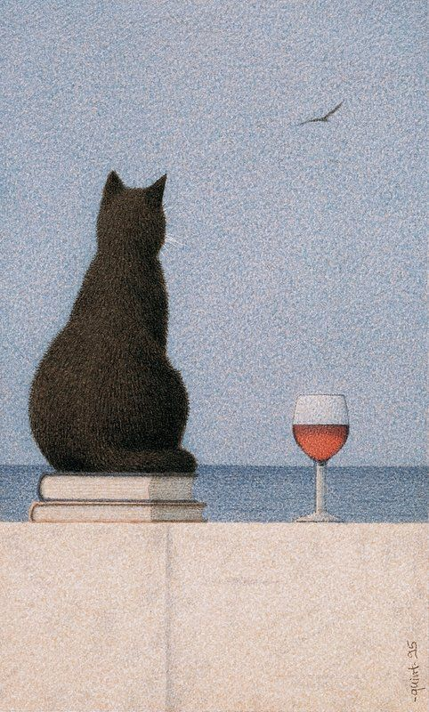 Cat by the Sea - 1995 My most favorite things: cats, wine, & books