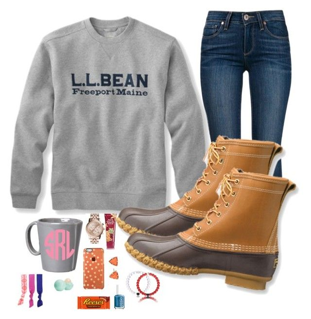 """Bean boots"" by prepallday ❤ liked on Polyvore featuring Paige Denim, L.L.Bean, Vietri, MICHAEL Michael Kors, Kendra Scott, Eos, Splendid and Essie"