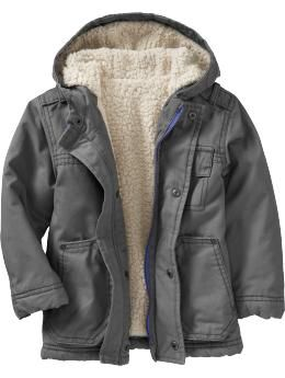 Sherpa-Lined Canvas Jackets for Baby