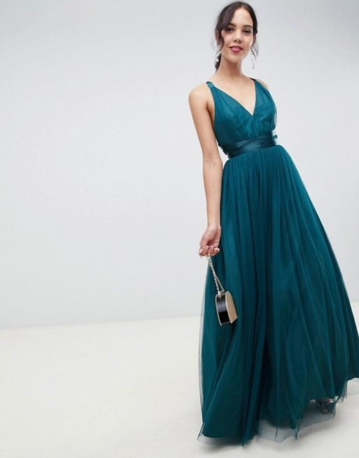 9acdcbe32aab ASOS Tall | ASOS DESIGN Tall Premium Tulle Maxi Prom Dress With Ribbon Ties