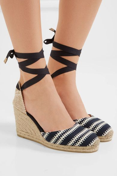 Wedge heel measures approximately 80mm/ 3 inches Midnight-blue and white canvas Ties at ankle