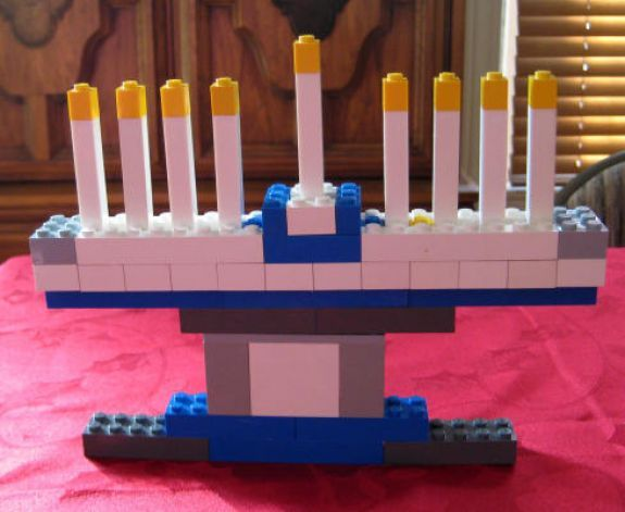 LEGO Menorah. Going to have K and C build one for Hanukkah!