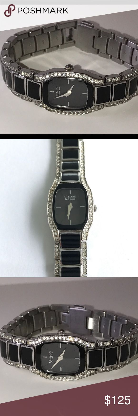 Ladies Citizen Eco-Drive Swarovski Crystal  Watch Nothing says elegance and grace more than this stunning watch. Many compliments coming your way if your are adorned with this Citizens. You will not be disappointed to see this beauty upon arrival!!!   Mint Condition(Protective coating still intact on watch back)  Never needs batteries. Citizen Accessories Watches