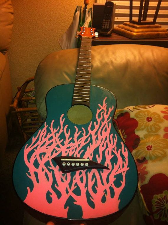 Custom Coral Painted Guitar, made by JaynelHowl on Etsy! https://www.etsy.com/listing/153246859/custom-coral-painted-guitar?ref=pr_shop