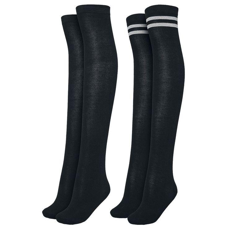 Ein Doppelpack Overknees besteht aus einem schwarz-grauen Paar und einem in schwarz uni.  Die Jungs und Mädels von Urban Classics wissen einfach wie man auch aus Socken verdammt coole Accessoires machen kann. Bei uns bekommt ihr die Overknees Socken direkt im Doppelpack - besser geht's nicht, oder? Überziehen und abrocken.