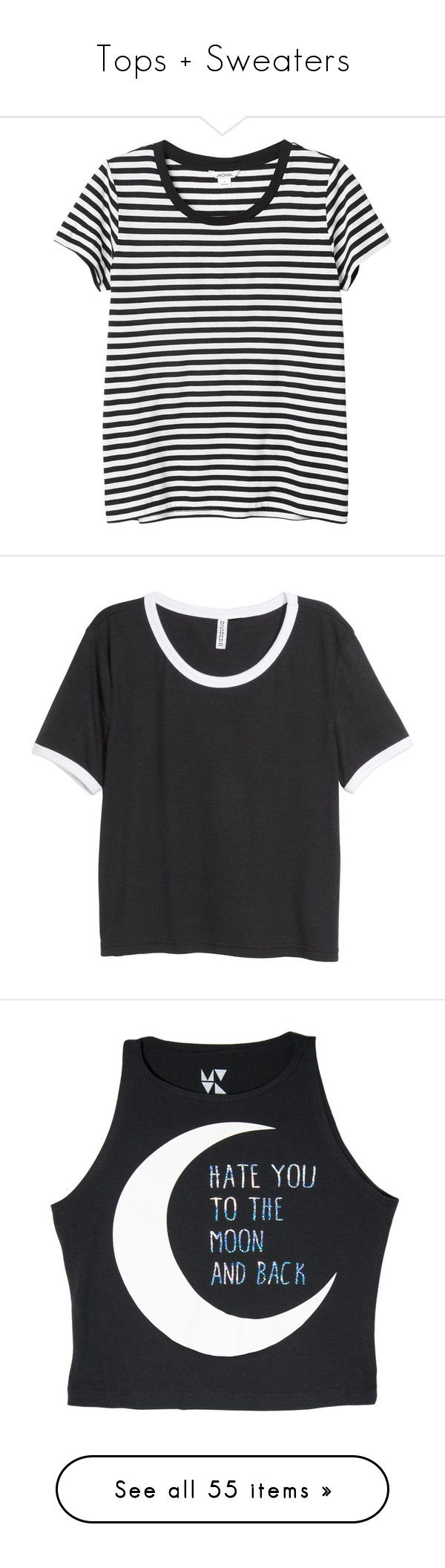 """""""Tops + Sweaters"""" by vikianna ❤ liked on Polyvore featuring tops, t-shirts, shirts, tees, sleek stripes, basic tee-shirt, tee-shirt, t shirt, basic tees and shirt tops"""