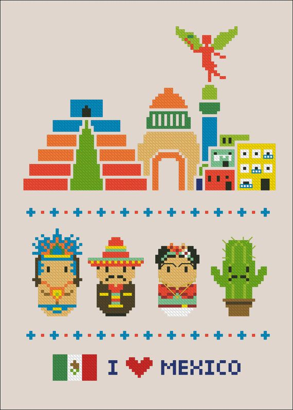 Mexico icons Mini people around the world PDF by cloudsfactory