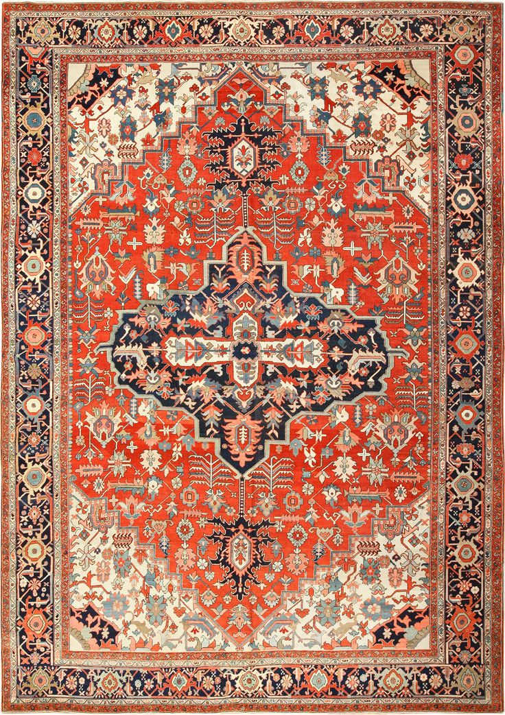 View This Beautiful Large Oriental Antique Persian Heriz Serapi Rug #49397  Available For Sale At
