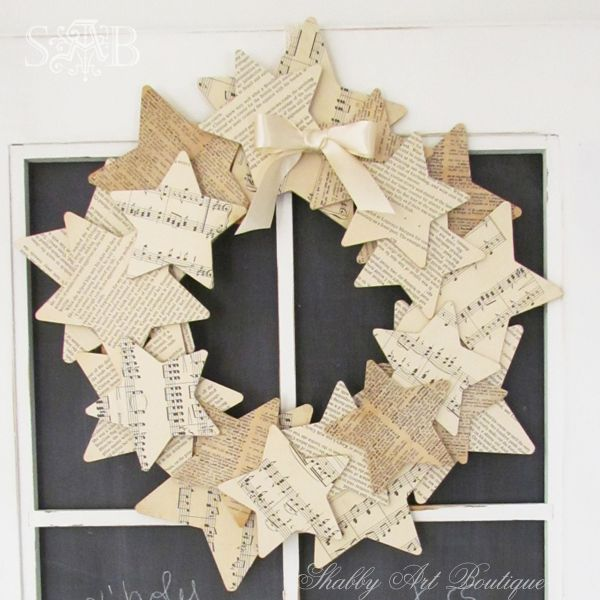 Kerryanne English shows how she made her Starry Wreath on her blog Shabby Art Boutique.  It is actually a Kaisercraft kit, but she shows how you can make one yourself.  She used vintage book paper, an old music manuscript, and an old dictionary.: