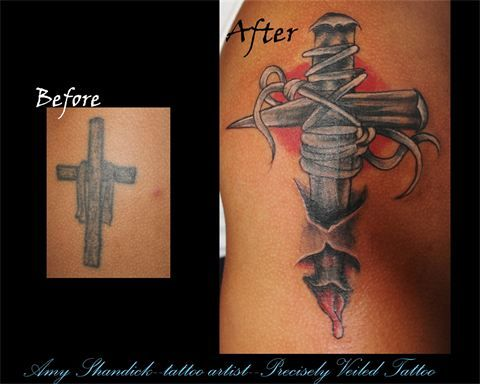 cross cover black and grey coverup tattoo tattoos www.facebook.com/preciselyveiledtattoos www.preciselyveiledtattoo.com #tattoo #tattoos #coverup #skin #ink
