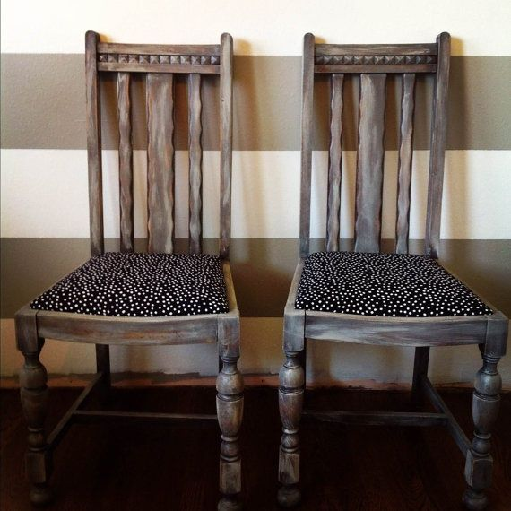 Distressed Black And White Polka Dot Vintage Dining Room Chairs