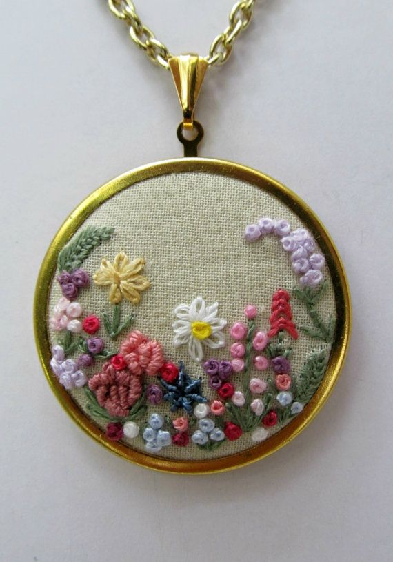 Embroidered garden necklace victorian great by ThePetiteArmoire