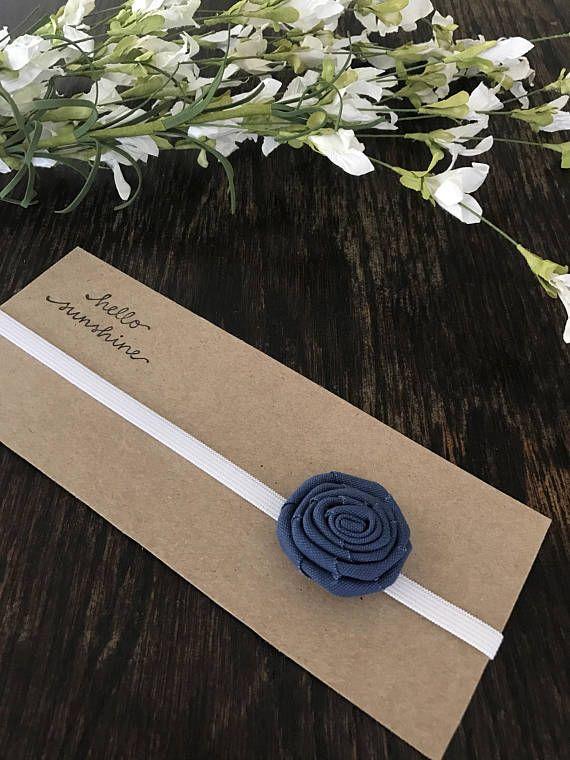 Diadema de flor de tela azul para recién nacido/bebé/niño