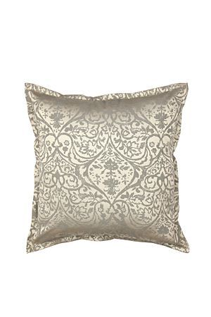 Add a stylish and opulent finish to your bedroom with this gold jaquard cushion with damask design. Matches back to a co-ordinating quilt. Incudes feather inner