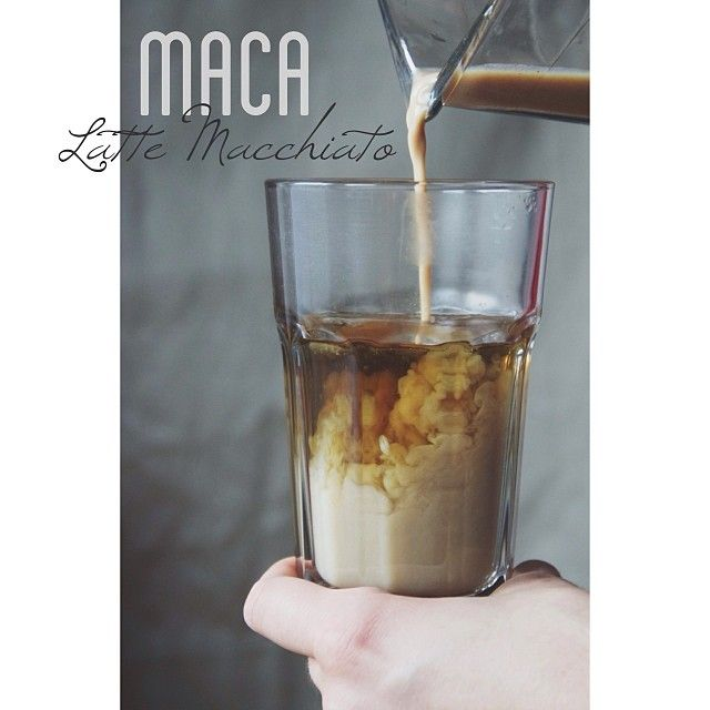 Healthy Maca Coffee || 1 tsp maca powder || 1/2 cup almond milk || 1/2 cup warm water or green tea || cinnamo