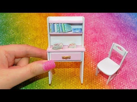 DIY Miniature Dollhouse Desk and Chair - How to Make Miniature Dollhouse Things - YouTube