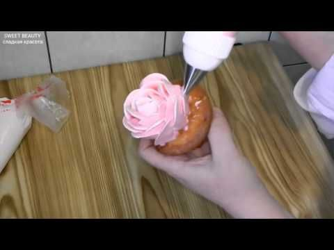 украшение тортов -как сделать розу из крема, cake decoration - how to ma...
