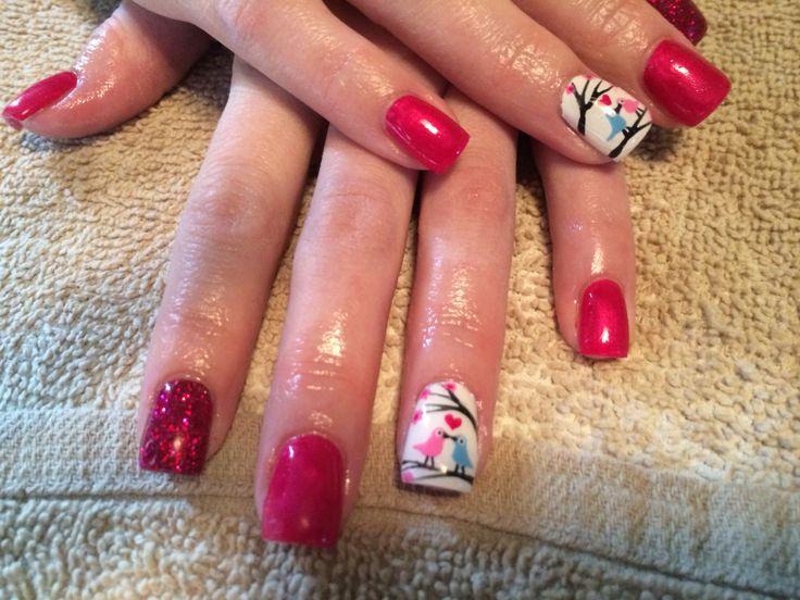 Love bird valentine's day nails