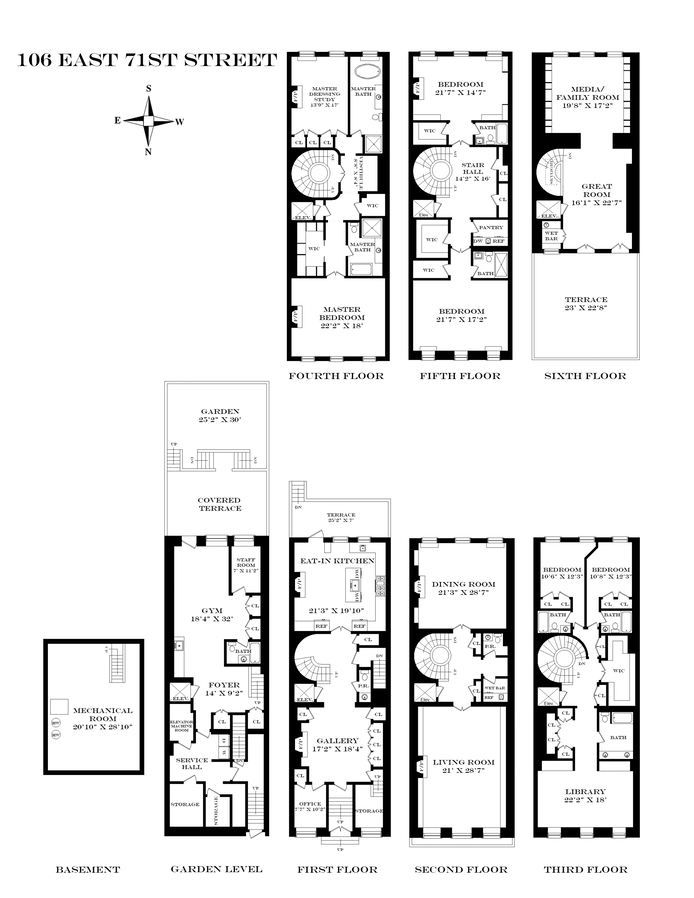 108 best townhouse floor plans images on pinterest floor for Luxury townhouse floor plans