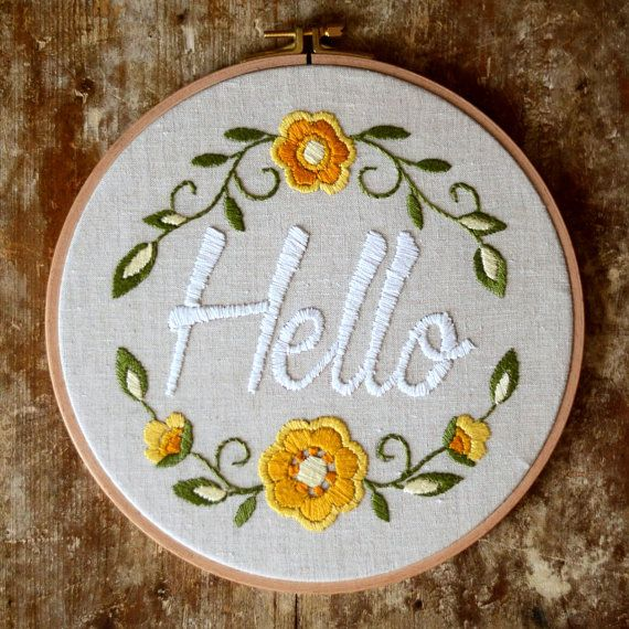 Wall hanging Hello Hand embroidery hoop Floral от SvitanokStore