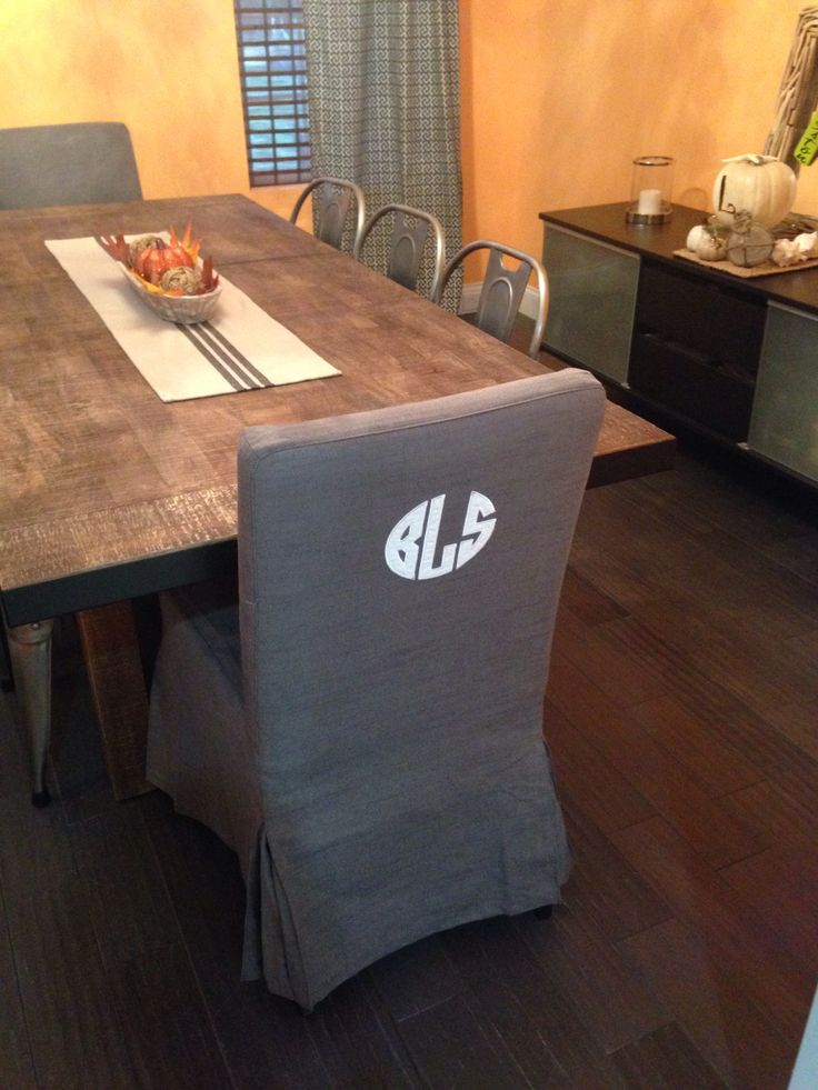 Monogrammed Chair Cover Farmhouse Table Metal Chairs