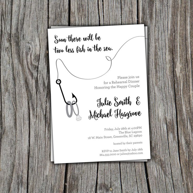 Fishing Invitation, Two Less Fish in the Sea, Nautical, Rehearsal Dinner, Engagement Party , Couples Bridal Shower, Lake by OhCreativeOne on Etsy https://www.etsy.com/listing/400085031/fishing-invitation-two-less-fish-in-the