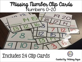 FREEBIE! This includes 24 clip cards with missing numbers from 0-20. It includes 2 numbers in a series with a line for the missing number number. Students will clip the missing numberIf you like this freebie please leave feedback at my shop!
