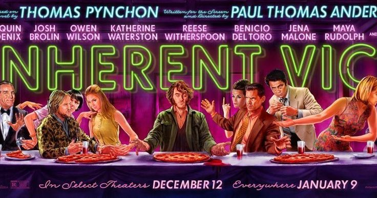 'Inherent Vice' Poster Celebrates Thanksgiving -- The colorful characters of 'Inherent Vice' celebrate Thanksgiving with pizza in a new banner for director Paul Thomas Anderson's adaptation. -- http://www.movieweb.com/inherent-vice-movie-poster-thanskgiving