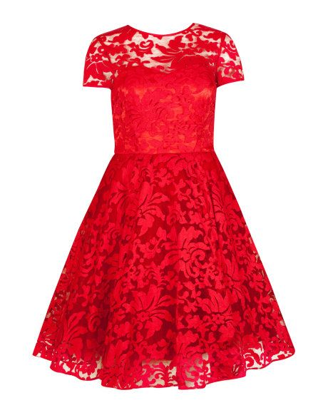 SHEER FLORAL OVERLAY DRESS - Red | Dresses | Ted Baker UK  Glorious Goodwood Racing Fashion www.furlongfashion.com