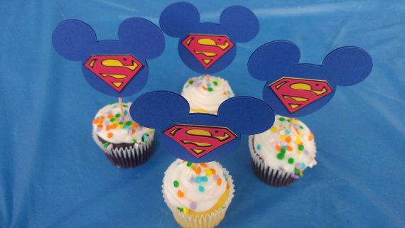 Check out this item in my Etsy shop https://www.etsy.com/listing/466528561/superman-mickey-cake-toppers-set-of-12