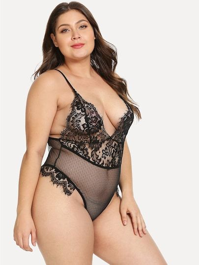 Plus Bodysuit Lace sheinside Contrast Teddy V Plunge Shein f7bY6yvg