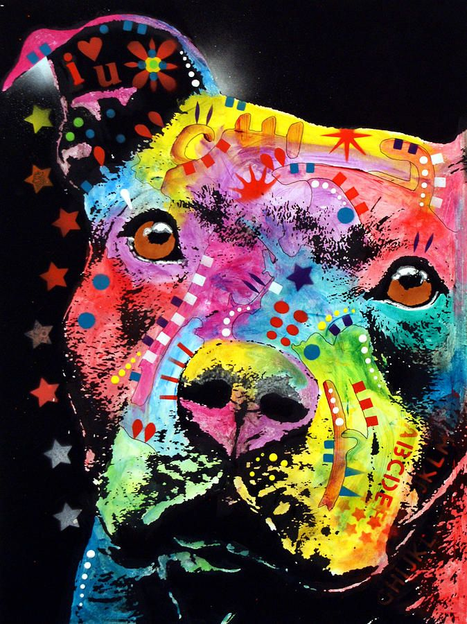 This looks like CC!  Thoughtful Pitbull i heart u Painting  by Dean Russo ( repin)