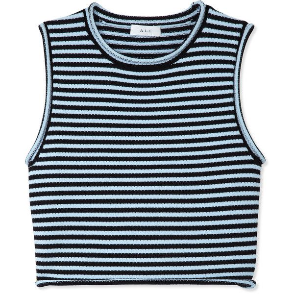 A.L.C. Dan Striped Top (26495 DZD) ❤ liked on Polyvore featuring tops, shirts, crop tops, tank tops, blue, sleeveless shirts, shirt crop top, crewneck shirts, stripe crop top and sleeveless tops
