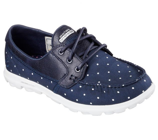 Iconic design and premium materials fuse with innovative SKECHERS GOimpulse Sensor technology to achieve the ultimate in comfort and style. Skechers On-The-Go - Linen Polka has a heathered jersey knit fabric upper in a three eye lace up boat shoe with contrast accents. Goga Max™ insole.<br /><br />