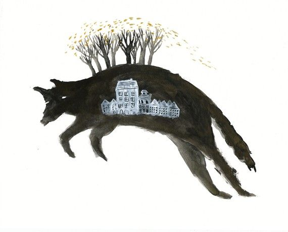 Leaping Wolf with Houses Archival Art Print by benconservato